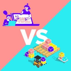 Ilustración Desarrollar Inteligencia Artificial vs Productivizar IA